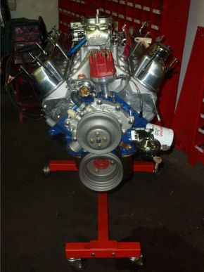 V8 on engine stand